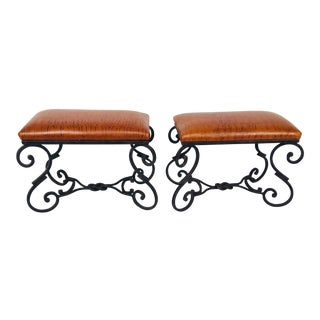 Modern Hand Wrought Iron Benches– A Pair For Sale