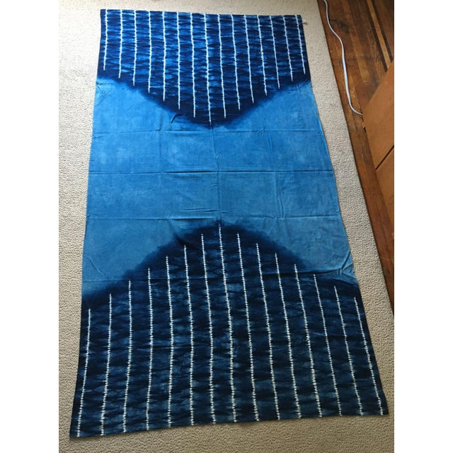 Moving Sale - Large Japanese Indigo Shibori Tablecloth, Throw Blanket or Wall Hanging - Image 2 of 4