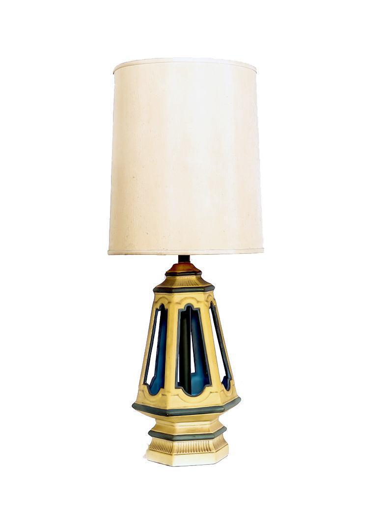 Vintage Yellow Teal Geometric Ceramic Table Lamp Chairish