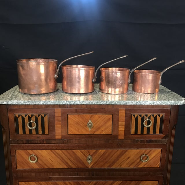 Metal Mid 19th Century Graduated French Copper and Iron Pots- Set of 4 For Sale - Image 7 of 7