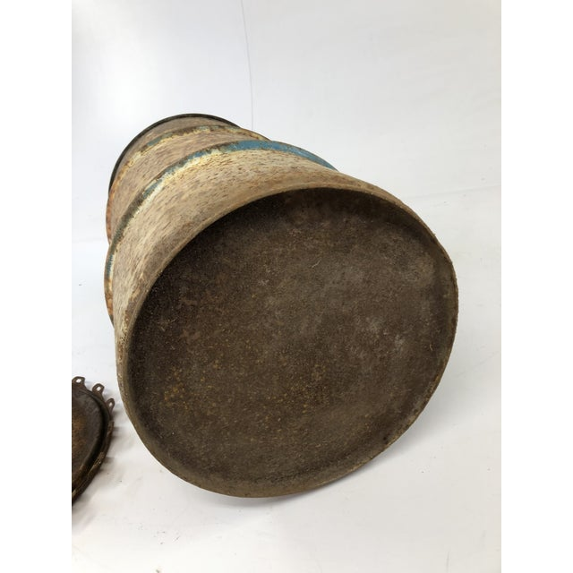 Vintage Industrial Metal Oil Barrel With Lid For Sale - Image 12 of 13