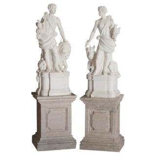 Pair of Italian Marble Statues of Hunters For Sale