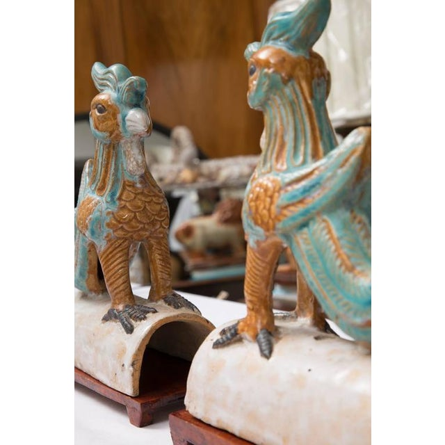 Pair of Chinese Glazed Terracotta Roof Tiles on Wood Stands - Image 3 of 7