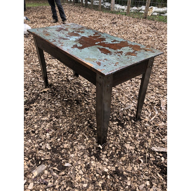 Industrial Distressed Wood Table With Metal Legs For Sale - Image 12 of 13