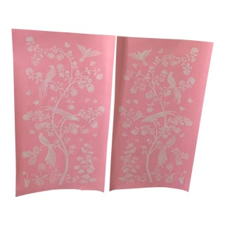 Pink Hand Painted Chinoiserie Floral Panels - a Pair For Sale