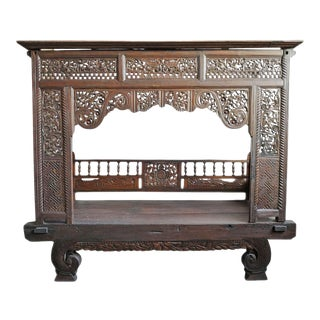 Mid 20th Century Balinese Carved Canopy Daybed For Sale