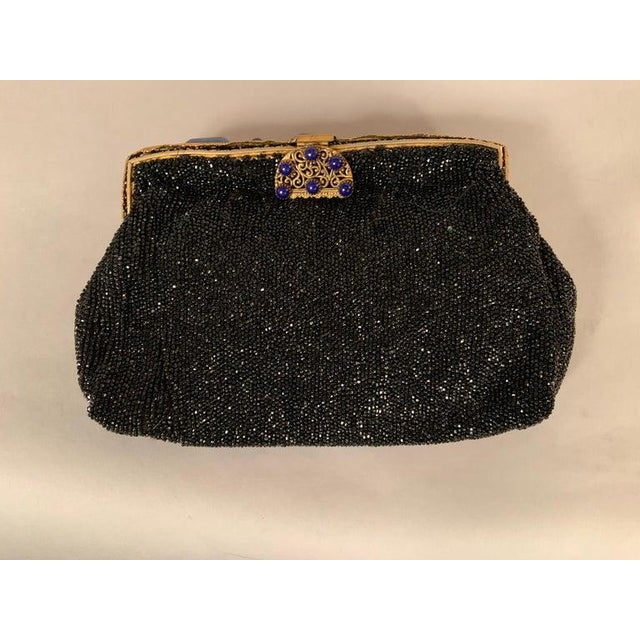 French Caviar Beaded Black Evening Bag With Lapis Lazuli and Gold Toned Wirework Frame For Sale In Philadelphia - Image 6 of 10