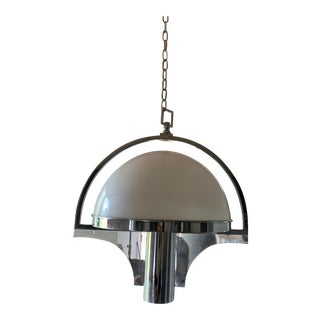 Peill & Putzler Style Glass Lucite Chrome Pendant Fixture For Sale