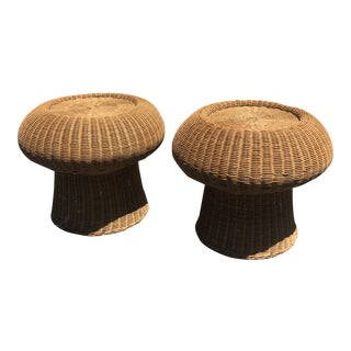 1960s Eero Aarnio Mushroom Style Wicker Ottomans - a Pair For Sale