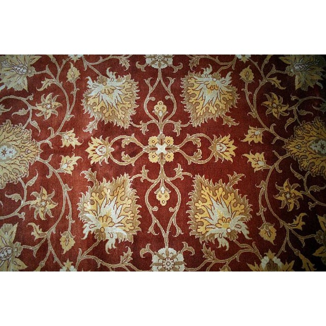 Usually, this style of reproduction rugs that their pattern was taken from Persian Sultanabads or Turkish Oushak, come...