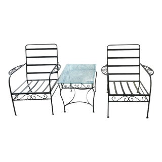 1960s Wrought Iron Patio Garden Chairs & Table, 3 Pieces For Sale