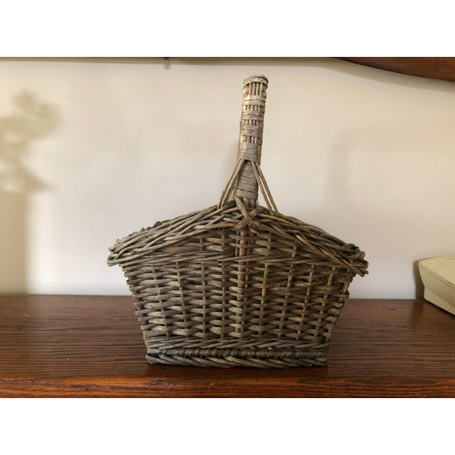 Antique Wicker Basket With Handle For Sale - Image 12 of 12