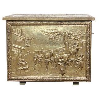 Vintage English Brass Coal Box