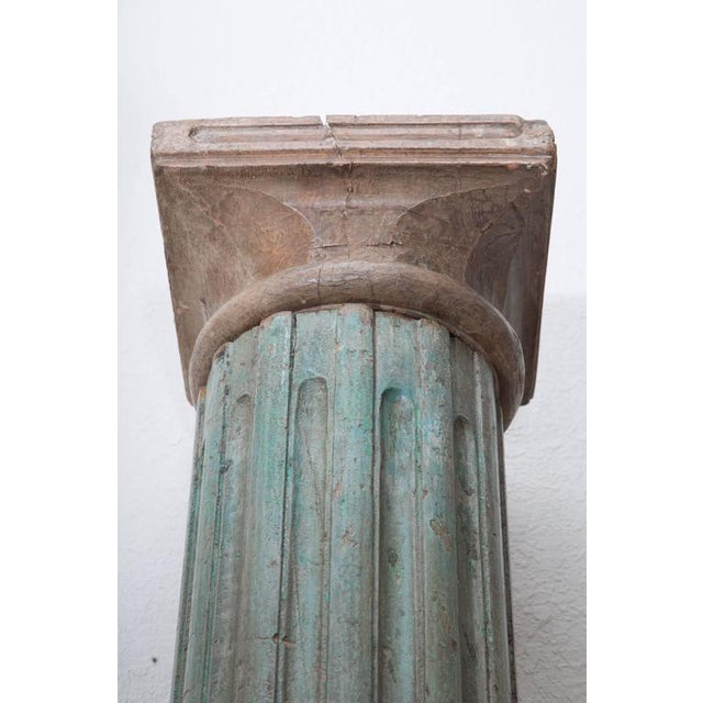 Neoclassical Large Fluted Wooden Neoclassical Columns with Capitals and Terra Cotta Bases For Sale - Image 3 of 6