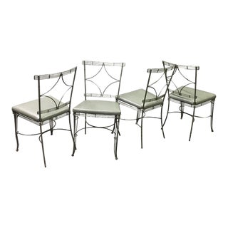 Hollywood Regency Brushed Steel Wire Dining Chairs For Sale
