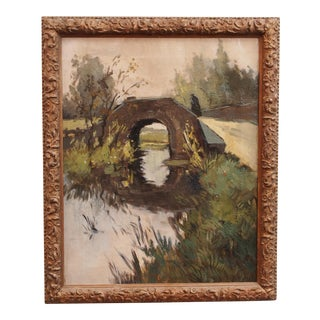 """Painting by Frans Hens, """"Shadowy Figure Crossing a Bridge"""" For Sale"""