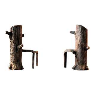 "Artisan ""Log"" Andirons - a Pair For Sale"