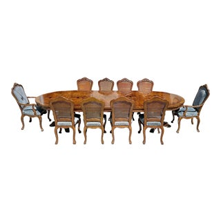 Karges Louis XIV-Style Burled Walnut Double Pedestal Dining Table & 10 Chairs For Sale