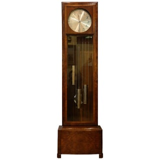 Early 20th Century Antique German Art Deco Grandfather Clock For Sale