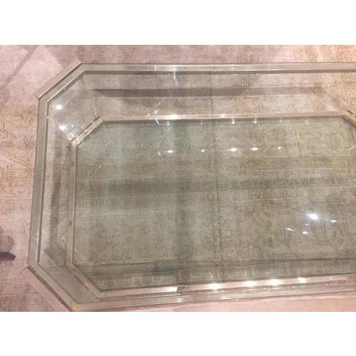 Mid-Century Modern Vintage Glass and Brass Cocktail Table, C.1970 For Sale - Image 3 of 9