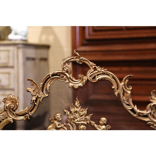 Late 19th Century 19th Century French Louis XV Carved Bronze Doré Fireplace Screen With Cherubs For Sale - Image 5 of 8