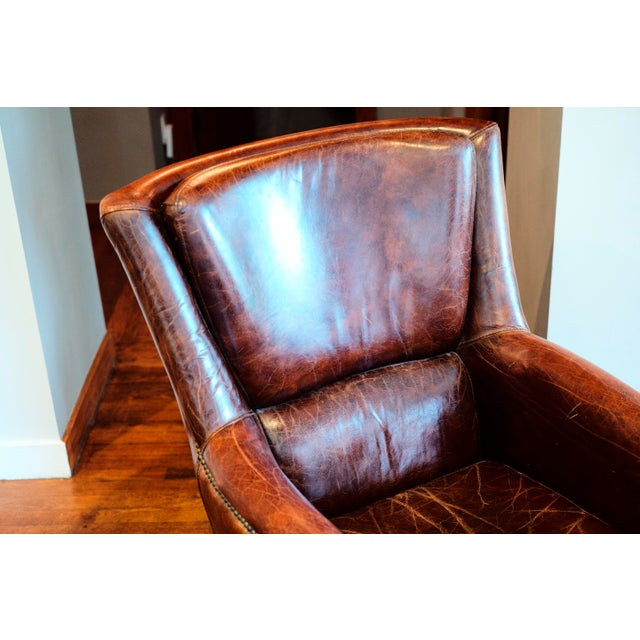 Mediterranean Vintage Shabby Chic Leather Chair For Sale - Image 3 of 7