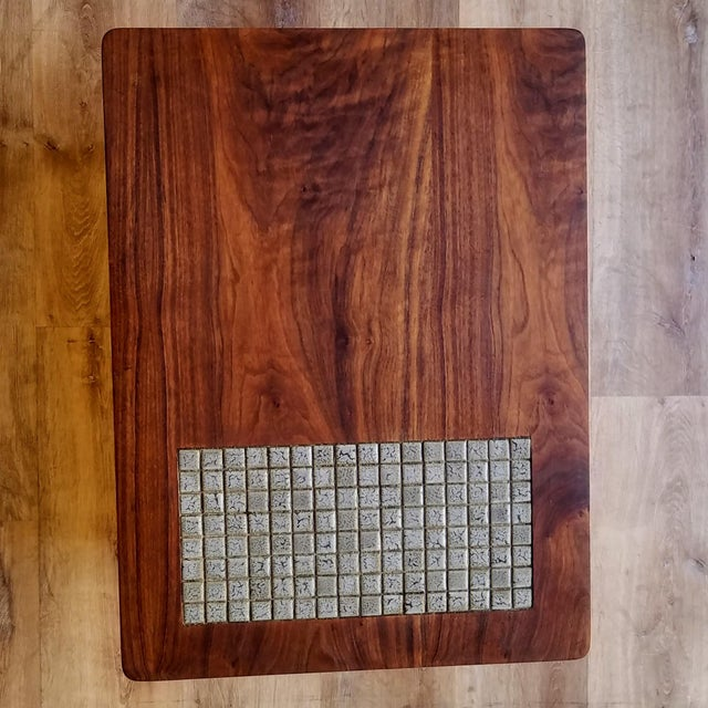 1960s Lane Two-Tiered Side Table With Mosaic Tile Inlay For Sale - Image 9 of 13