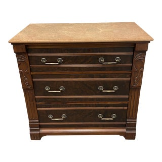 Romweber Traditions Made Modern Three Drawer Burled Wood + Honed Marble Top Dresser For Sale