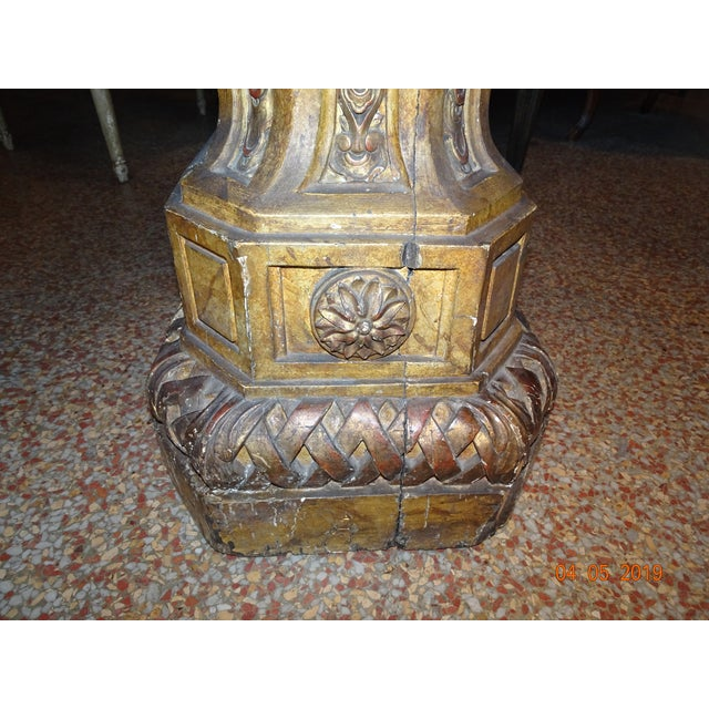 Gold 19th Century French Gilt & Painted Pedestal For Sale - Image 8 of 13