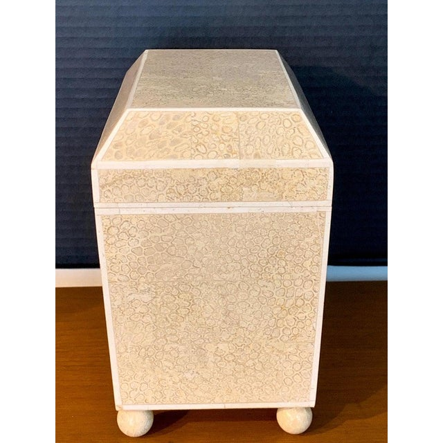 White Lacquered Shell and Bone Tapered Sarcophagus Box, by Maitland- Smith For Sale - Image 8 of 13