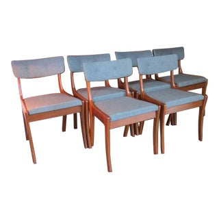 Mid-Century Modern Solid Wood Chairs - Set of 6