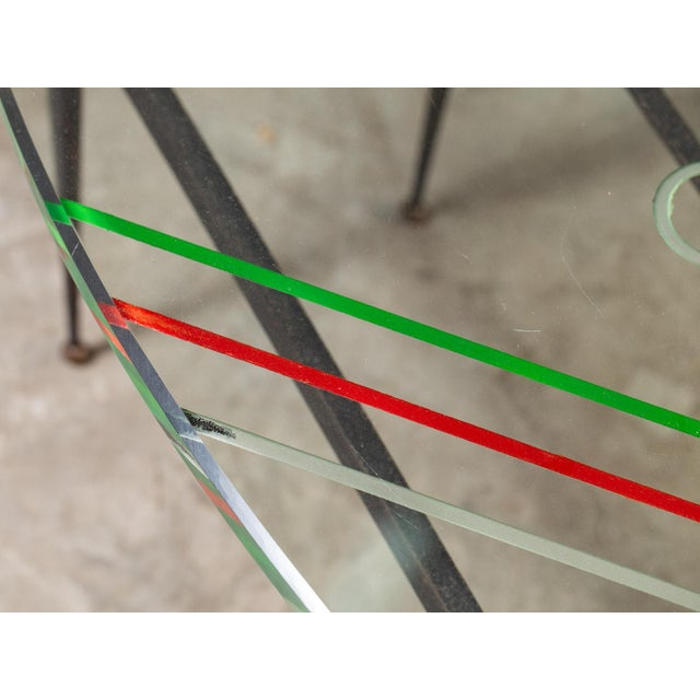 Vintage 1960s Italian Oval Coffee Table with Painted Glass Top For Sale - Image 4 of 13