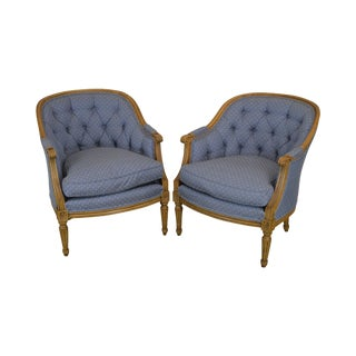 Baker French Louis XVI Style Pair Bergere Chairs For Sale