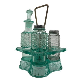 Antique Green Apple Cut Glass Paneled Daisy & Button Cruet Decanter & Shaker Set For Sale