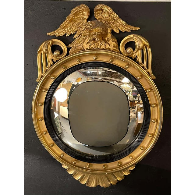Federal Style Gilt Gold Convex Mirror, Wall, Console or Pier Mirror For Sale In New York - Image 6 of 10