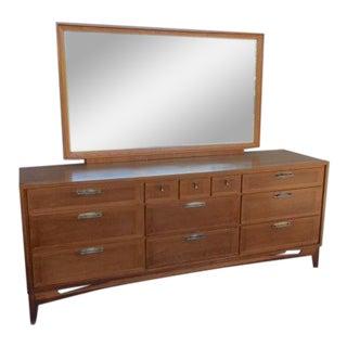 1950s Vintage Red Lion Furniture Mirrored Dresser For Sale