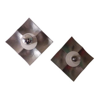 1960s Mid-Century Modern Aluminum, Wall Lights/Sconces - a Pair