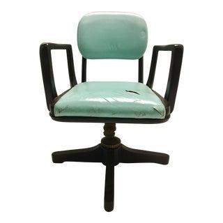 Vintage Aqua Leather Desk Chair