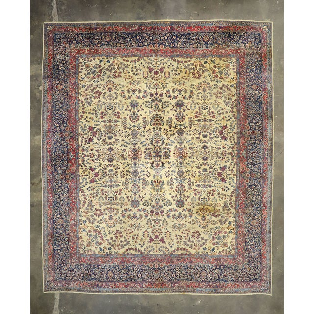 Tan Antique Persian Kerman Palace Size Rug - 12′10″ × 15′2″ For Sale - Image 8 of 10