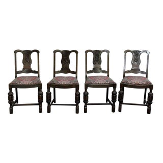 Carved Wood Chairs - Set of 4 For Sale