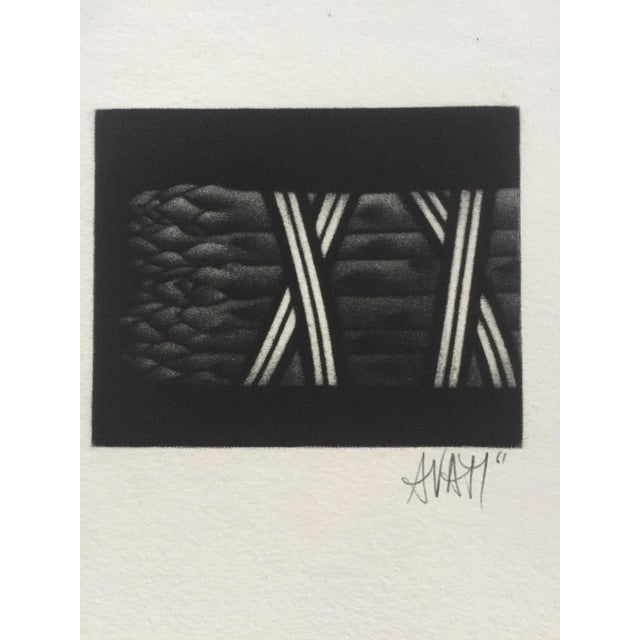 """Mario Avati Asparagus 1961 Mezzotint Print 3.25""""x3"""" framed 12""""x1.25""""x12.5 Signed and dated bottom center in pencil..."""