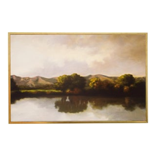 Ojai Landscape Oaks in the Distance #1, Fine Art Print on Archival Canvas, Framed For Sale