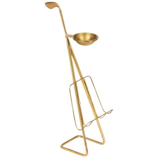 French Mid-Century Brass Ashtray Magazine Stand For Sale