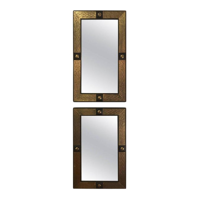 Hollywood Regency Style Gold Brass Morrocan Mirrors - a Pair For Sale - Image 9 of 9