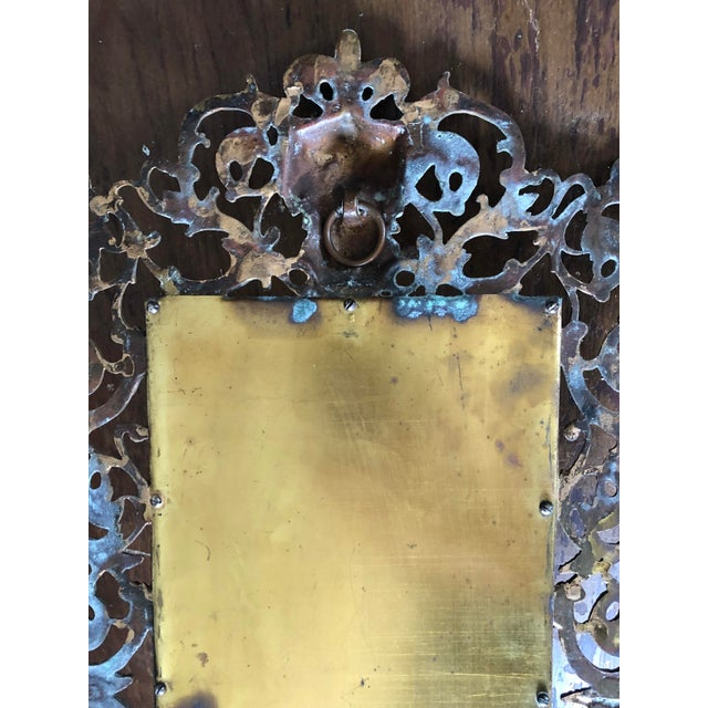 Bradley Hubbard Antique Brass Bacchus Three Candle Mirrored Wall Sconce For Sale - Image 4 of 5