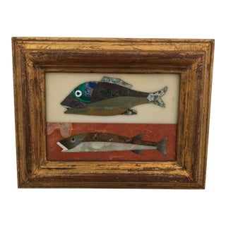 Richard Blow Style Pietra Dura Fish Plaque For Sale