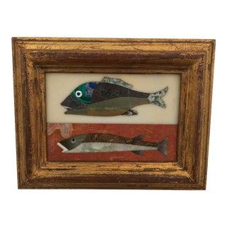Richard Blow Style Pietra Dura Fish Plaque For Sale