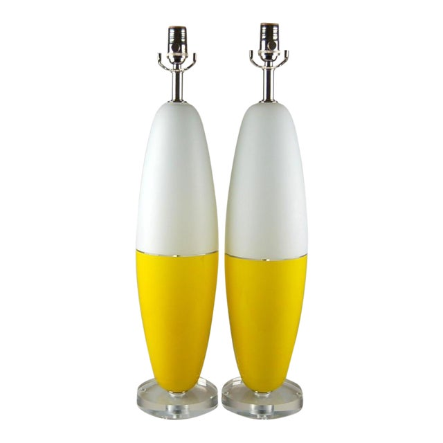 Vintage Murano Glass Capsule Table Lamps in Yellow/White For Sale - Image 11 of 11
