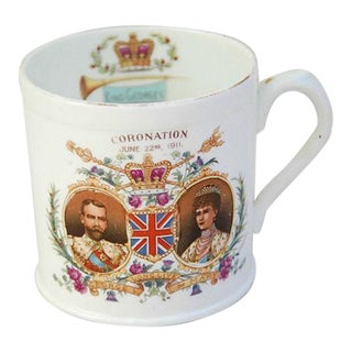Antique Circa 1911 George V & Mary English Coronation Mug Cup For Sale