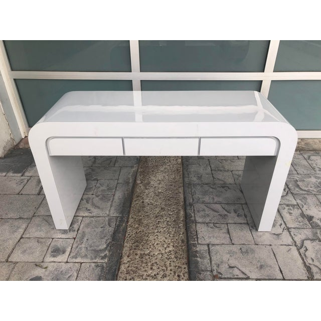 1980s Contemporary Gray Laminate Waterfall Desk For Sale - Image 10 of 10